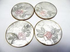 Vintage Capiz Shell Shiny Coaster Roses Set of by sweetie2sweetie