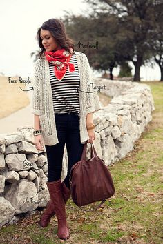 cute, casual fall outfit. striped top, colorful scarf, open sweater, skinny black pants, tall boots.