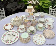 Pink, Gold & Pale Blue Tea Set, Cake Stand & Teapot for a Tea Party, via Flickr.