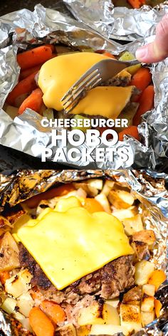 Cheeseburger Hobo Packets are quick and easy meal in a foil packet. They are filled with potatoes, carrots and a homemade cheeseburger. You can make them over the campfire, in the grill or in the oven. Easy clean up with the entire meal in a foil packet! Tin Foil Dinners, Foil Packet Dinners, Foil Pack Meals, Foil Packet Desserts, Hobo Packets, Potato Foil Packets, Grilled Foil Packets, Hobo Dinners, Easy Camp Dinners