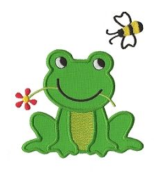 Frog and Flower Applique - 3 Sizes! | Spring | Machine Embroidery Designs | SWAKembroidery.com Applique for Kids