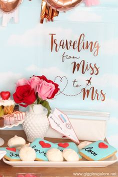 Love is in the Air Airplane Themed Bridal Shower Traveling from miss to mrs vinyl sign Wedding Engagement, Engagement Quotes, Engagement Parties, Engagement Pictures, Engagement Shoots, Engagement Photography, Chanel Bridal Shower, Bridal Shower Party, Travel Bridal Showers