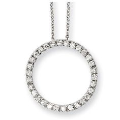 Sterling Silver 'Circle of Hope' CZ Circle 18in Necklace - Necklaces