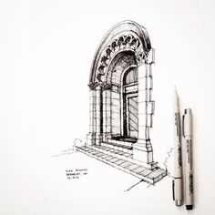 I walked by this Julia Morgan building in Berkeley. #sketch #drawing…