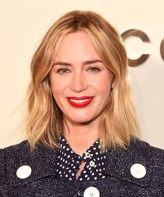 Blonde Lob and Red Lips