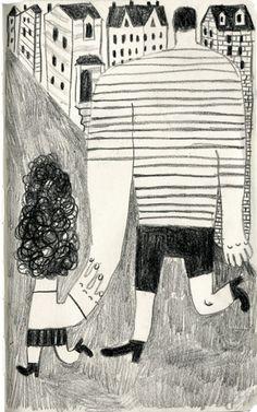 Walking.  People I saw.  drawing by artist/illustrator JooHee Yoon.  c2014