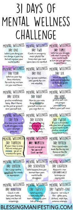 A Mental Wellness to challenge to encourage you to focus on your mental health. This is great for anxiety, depression, or PTSD. Usui Reiki, Mental Training, Self Care Routine, Healthy Mind, Self Improvement, Mindfulness, Mental Health Programs, Mental Health Help, Mental Health Counseling