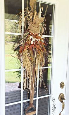 Pitchfork made into a unique fall wreath.