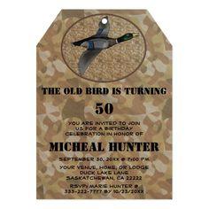 Funny Duck Bird Hunter Hunting Birthday Party Card