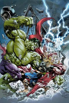 Hukl vs Thor by Mike Deodato Jr