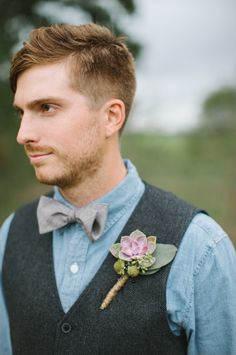 Groom's Look | Denim Shirt with Charcoal Vest + Succulent Boutonniere and Bow Tie