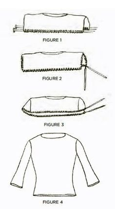 Knitting a top-down sweater with set-in sleeves.