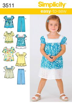 Toddler Dress, Top and Pants Sewing Pattern 3511 Simplicity / out of print Toddler Sewing Patterns, Sewing Kids Clothes, Baby Girl Dress Patterns, Dress Sewing Patterns, Clothing Patterns, Sundress Pattern, Sewing Ideas, Sewing Projects, Girls Summer Outfits