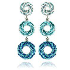 Lemonade Crystal Vortex Dangle Earrings Blue - 4EverBling