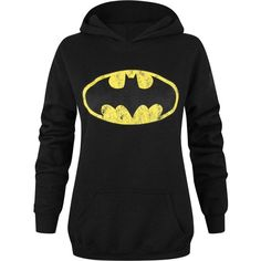 Official Batman Distressed Logo Women's Hoodie ($39) ❤ liked on Polyvore featuring tops, hoodies, hooded sweatshirt, logo hoodies, logo tops, sweatshirt hoodies and ripped tops