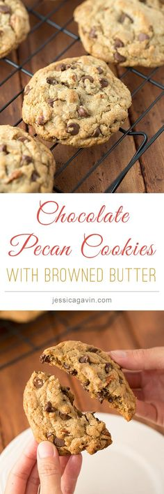 Incredible Chocolate Chip Pecan Cookies cooked with browned butter | jessicagavin.com
