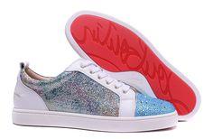 Christian Louboutin Louis White Blue Diamond Low Sneakers