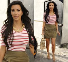 School Outfit: Kim Kardashian  NOTE: No leggings needed for this skirt to be dress code...maybe a belt?