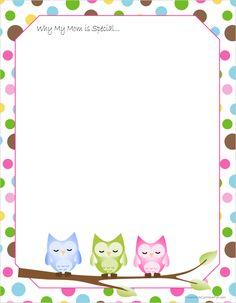 owl border writing paper