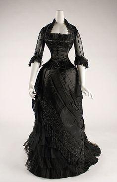 Evening dress Date: 1881–84 Culture: American or European Medium: silk