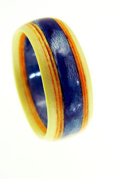 Sapphire Blue  Bentwood Ring  Wood Ring  Wood by SaxonWoodJewels