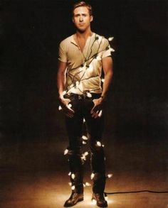 Ryan Gosling wrapped in #Christmas lights. You're welcome.