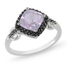 <3 Rose de France Amethyst and Enhanced Black Diamond Framed Ring in 10K White Gold