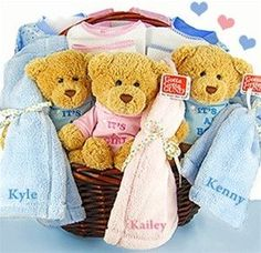 Triplet Babies & Teddy Bears Gift Basket (#BBC35)