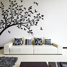 (87'' x 66'') Wall Decal Tree silhouette Branch with Leafs & Birds / Nature Art Decor Sticker / Forest DIY Mural + Free Random Decal Gift