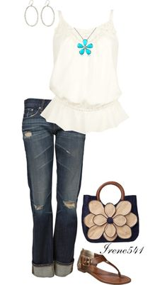 """""""Flower Power"""" by irene541 on Polyvore. Minus the purse and maybe a different necklace"""