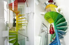How could I do a post about stairs and not include the rainbow spiral staircase designed by Ab Rogers Design that we featured last year from The Rainbow House? Toile Design, Tableau Design, Modern Staircase, Staircase Design, Spiral Staircases, Stair Design, Double Staircase, Winding Staircase, Rainbow House