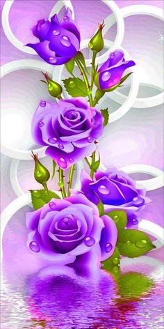 Diamond DIY Painting Full Drill Handmade Precious Purple Rose Flowers Cross Stitch Home Decor Embroidery Kit Purple Flowers Wallpaper, Flower Background Wallpaper, Beautiful Flowers Wallpapers, Beautiful Rose Flowers, Flower Phone Wallpaper, Rose Wallpaper, Flower Backgrounds, Purple Roses, Amazing Flowers