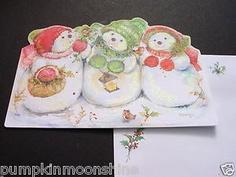 F191 Vintage Unused Mary Hamilton Xmas Greeting Card Cute Trio of Snowmen | eBay