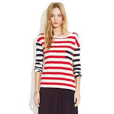 Women's NEW ARRIVALS - colorblock - Striped Transmission Tee - Madewell - StyleSays