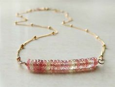 Lido Necklace with AAA Faceted Pink Sapphires Wire by FlowDesigns