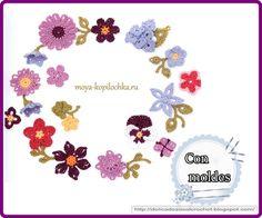 Gran colecciòn para apliques ,adornos o terminaciones   Estos motivos florales pueden ser   utilizados como elementos de encaje irlandés ...