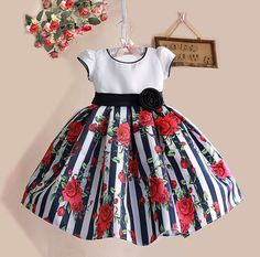 Cheap dress for your figure, Buy Quality dresse directly from China dress read Suppliers: New Summer Baby Girls Floral Dress with cap European Style Designer Bow Children Dresses Kids Clothes - Kids' Clothing Little Girl Dresses, Girls Dresses, Flower Girl Dresses, Baby Dresses, Dress Girl, Flower Girls, Girls Black Dress, Dress Black, Frack