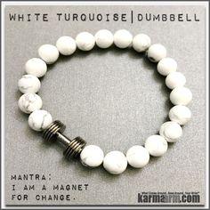 Bracelets. #LOA. Law of Attraction. womens mens I Beaded & Charm Yoga Mala I Meditation & Mantra I Spiritual | karma arm. White Turquoise Gunmetal Barbell. Dumbbell.
