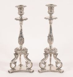 Pair German Silver Candlesticks Late 19th Century
