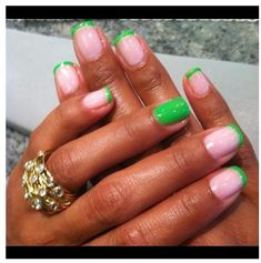 Manicure - I do Make Up in the Car Love Nails, How To Do Nails, Pretty Nails, My Nails, Aka Sorority, Sorority Nails, Alpha Kappa Alpha, Green Nails, Fabulous Nails
