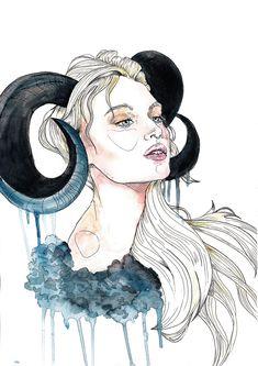 on Behance Arte Aries, Aries Art, Aries And Scorpio, Astrology Taurus, Zodiac Signs Gemini, Zodiac Art, Aries Horoscope, Dark Art Drawings, Sexy Drawings