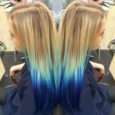 Strawberry Blonde Hair Blue Dip Dye Ombre
