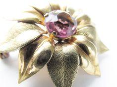 Brooch Amethyst Rhinestone Flower GF signed Adorna 1940s