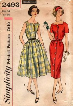Simplicity 2493 Womens Full Skirt or Slim Dress 50s Vintage Sewing Pattern Size 16 Bust 36 inches