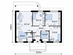 Plan cu parter si trei dormitoare | CasaPost.ro Small Spaces, Floor Plans, How To Plan, Interior, Projects, House, Indoor, Interiors, Floor Plan Drawing