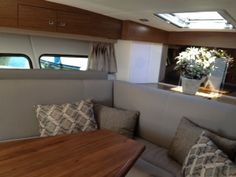 The interior of the new Cruisers Yachts 390 Express Coupe while being tested in Wisconsin.
