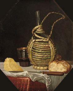 Cesare Dandini (1596-1657) (attr.a) - Natura morta con fiasco, bicchiere e pane - 1640 circa - Olio su tela - Vienna, Kunsthistorisches Museum, Gemäldegalerie