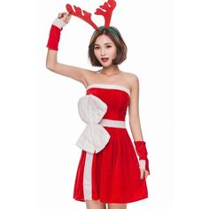Red Velvet Strapless Bow Dress Cute Christmas Costume ($36) ❤ liked on Polyvore featuring costumes, red costume, cosplay costumes, sexy christmas costume, sexy costumes and party costumes