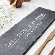 Slate Personalised Cheese Board by Sophia Victoria Joy, the perfect gift for Explore more unique gifts in our curated marketplace. Small Wedding Cakes, Unique Wedding Gifts, Unique Weddings, Slate Cheese Board, Cheese Boards, Personalized Cheese Board, Wine Gift Baskets, Serving Board, Charcuterie Board