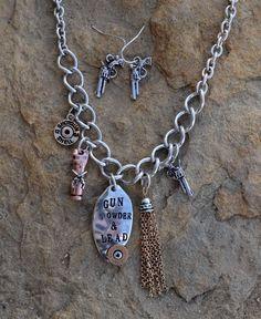 Cowgirl Bling Necklace Set GUN POWDER & LEAD  Western GYPSY Boho AMMO pISTOL  #Unbranded